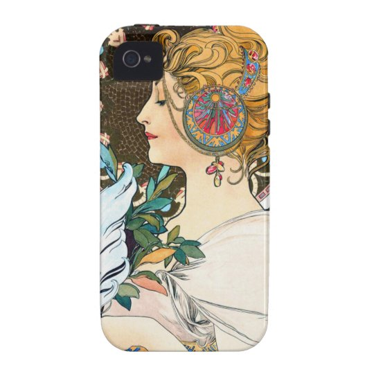 Mucha Primrose and Feather iPhone 4 Cover