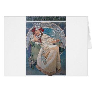 Mucha princess hyacinta lady blue dress card