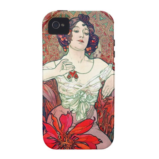 Mucha Ruby iPhone 4 Cover
