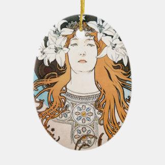 Mucha Sarah Bernhardt Vintage Art Nouveau Ceramic Ornament