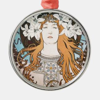 Mucha Sarah Bernhardt Vintage Art Nouveau Metal Ornament