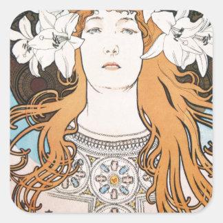 Mucha Sarah Bernhardt Vintage Art Nouveau Square Sticker