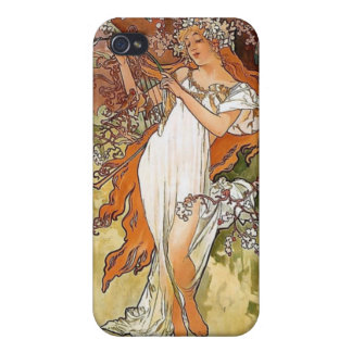Mucha spring lady art nouveau iPhone 4 covers