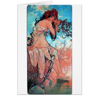 Mucha Summer lady woman long dress Card