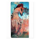Mucha Summer lady woman long dress Postcard