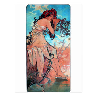 Mucha Summer lady woman long dress Postcard