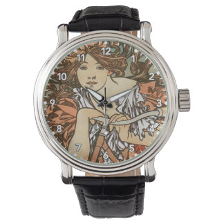 Mucha Vintage Bicycle Poster Ad Wristwatch