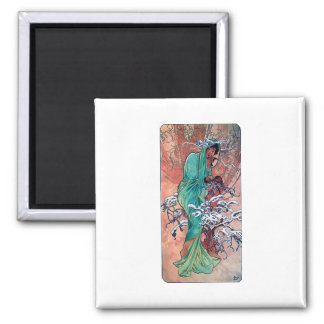 Mucha Winter art nouveau lady sparrows birds 2 Inch Square Magnet