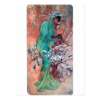 Mucha Winter art nouveau lady sparrows birds Postcard