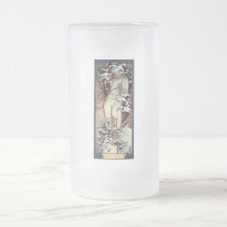 mucha winter art nouveau poster woman snow frosted glass beer mug