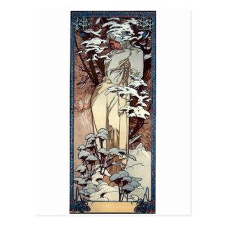 mucha winter art nouveau poster woman snow post card