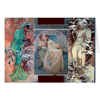 Mucha winter princess collage art deco card