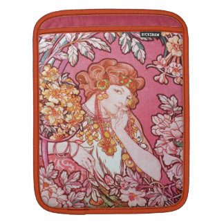 Mucha Woman Among Flowers Art Nouveau iPad Sleeve