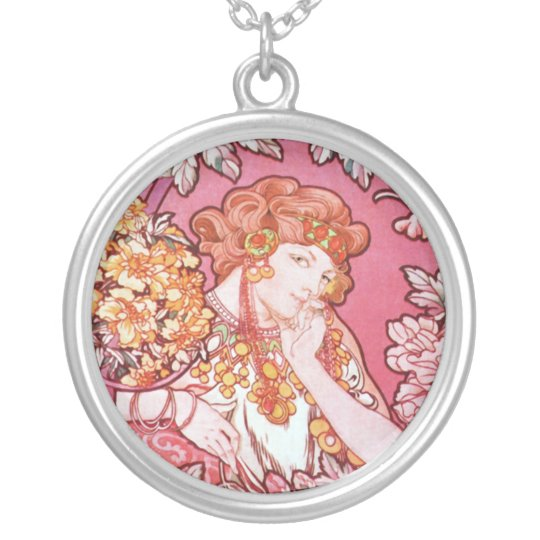 Mucha Woman Among the Flowers Art Nouveau Necklace