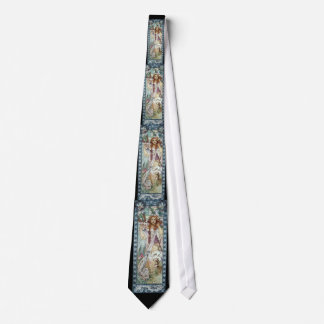 Mucha Woman Art Deco Flowers Spring blossoms Neck Tie
