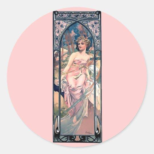 Mucha woman pink romantic dress art deco lady classic round sticker
