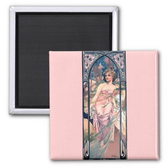 Mucha woman pink romantic dress art deco lady magnet