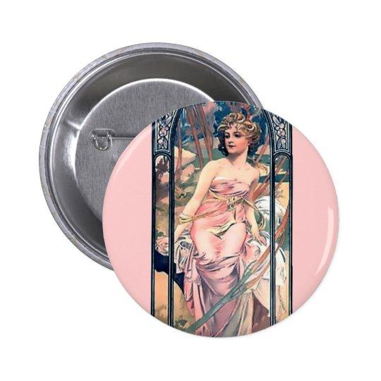 Mucha woman pink romantic dress art deco lady pinback button
