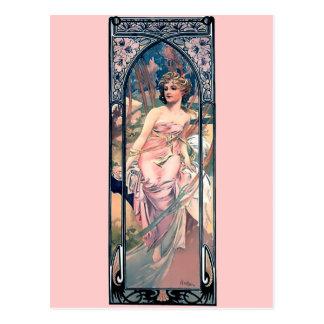 Mucha woman pink romantic dress art deco lady postcard
