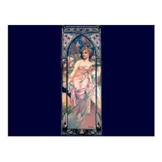 Mucha woman pink romantic dress art deco lady post card