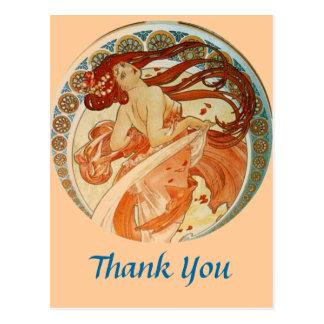 Mucha Woman Thank You Postcard