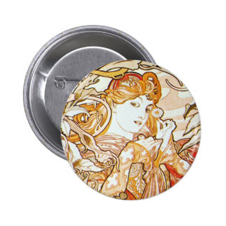 Mucha Woman With a Daisy Art Nouveau Button