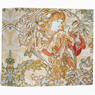 Mucha Woman With a Daisy Art Nouveau Floral Binder