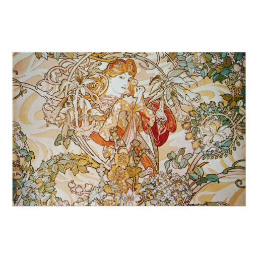 Mucha Woman With a Daisy Art Nouveau Poster Print