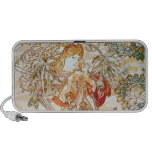Mucha Woman with Daisy Art Nouveau Doodle Speakers