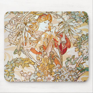 Mucha Woman With Daisy Art Nouveau Mouse Pad