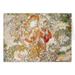 Mucha Woman With Daisy Art Nouveau Note Cards