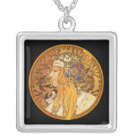 Mucha - Woman with Jewels - Vintage Art Personalized Necklace