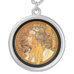 Mucha - Woman with Jewels - Vintage Art Necklaces