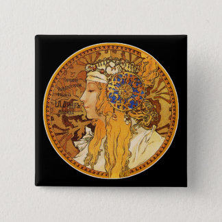 Mucha - Woman with Jewels - Vintage Art Pinback Button