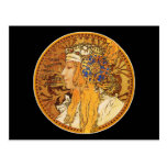 Mucha - Woman with Jewels - Vintage Art Post Cards