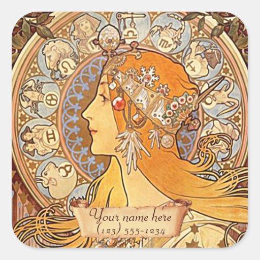 Mucha Zodiac Art Nouveau Bookplate Stickers