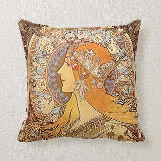 Mucha. Zodiac Throw Pillow