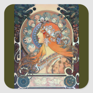 Mucha Zodiac Woman Art Deco Vintage Art Lady Square Sticker