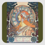 Mucha Zodiac Woman Art Deco Vintage Art Lady Square Sticker