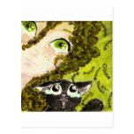 muchacha al gato 2 postales