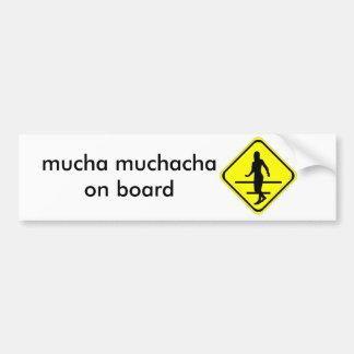 muchacha crossing car bumper sticker