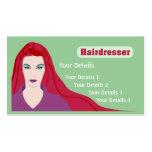 Muchacha de pelo largo de la tarjeta del peluquero tarjetas de visita
