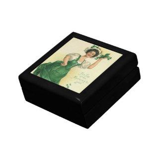 Muchacha del día de St Patrick del vintage, Cajas De Joyas