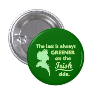 Muchacha irlandesa verde pin redondo de 1 pulgada
