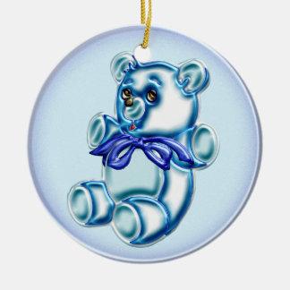 Muchacho #1 adorno navideño redondo de cerámica