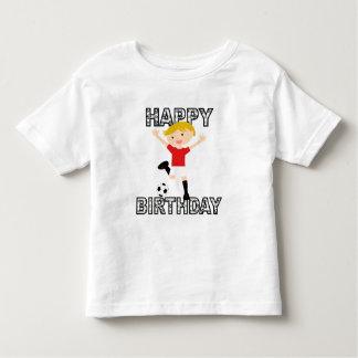 Muchacho 1 del cumpleaños del fútbol rojo y blanco playeras