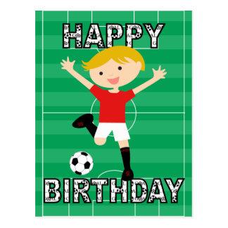 Muchacho 1 del cumpleaños del fútbol rojo y blanco tarjetas postales