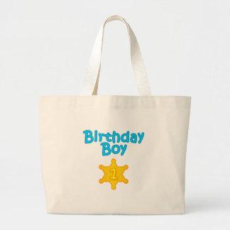 Muchacho 1 del cumpleaños del sheriff bolsa tela grande
