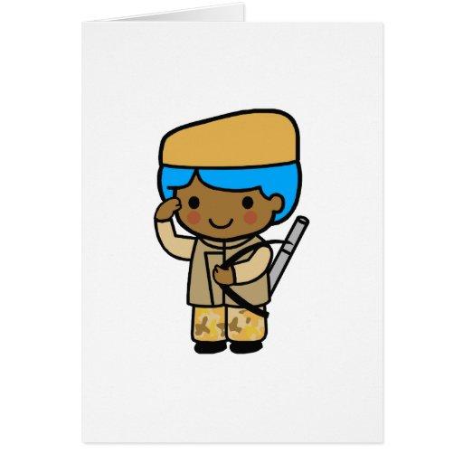 Muchacho 1 del soldado tarjetón