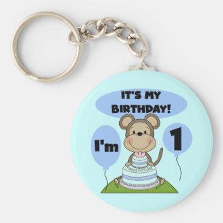 Muchacho 1r del cumpleaños del mono llavero redondo tipo pin